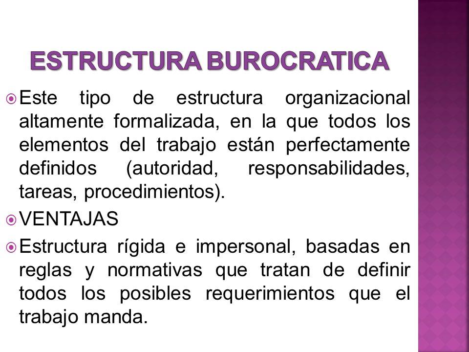 Este tipo de estructura organizacional altamente formalizada, en la que todos los elementos del trabajo están perfectamente definidos (autoridad, responsabilidades, tareas, procedimientos).
