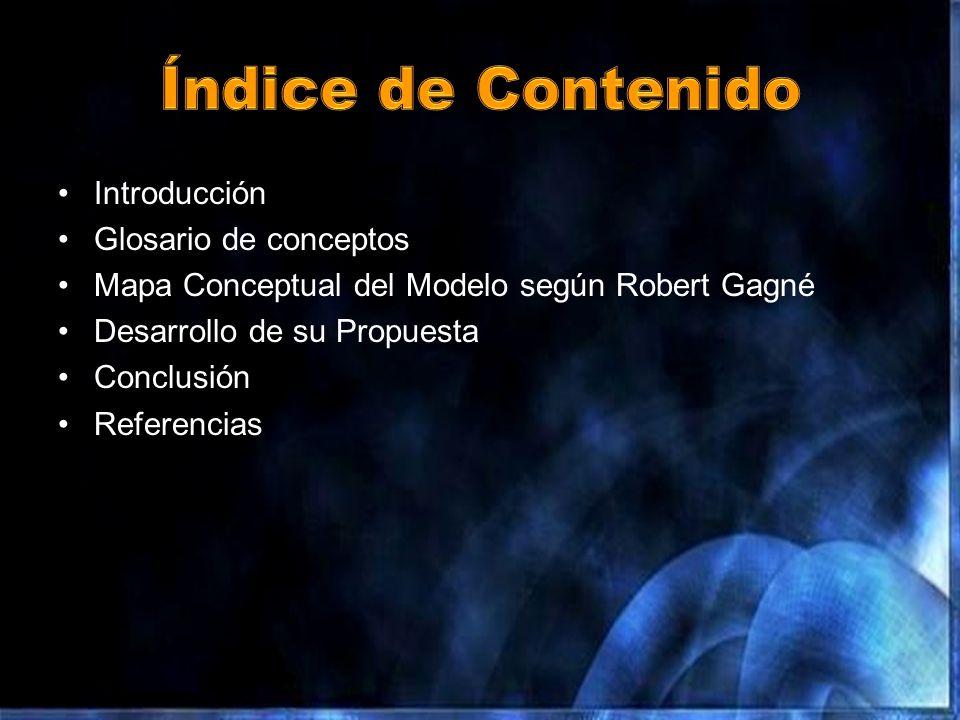 Introducción Glosario de conceptos Mapa Conceptual del Modelo según Robert Gagné Desarrollo de su Propuesta Conclusión Referencias