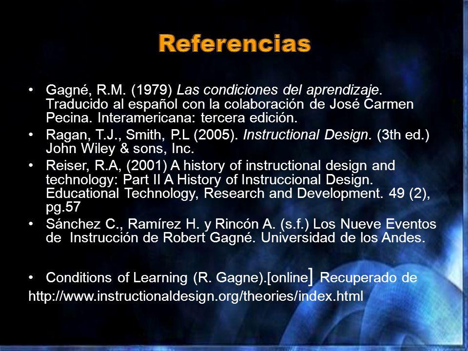Gagné, R.M.(1979) Las condiciones del aprendizaje.