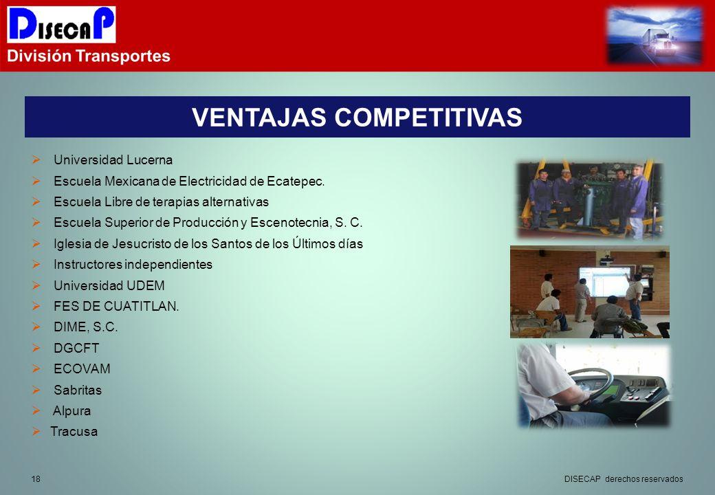 18 VENTAJAS COMPETITIVAS DISECAP derechos reservados Universidad Lucerna Escuela Mexicana de Electricidad de Ecatepec.