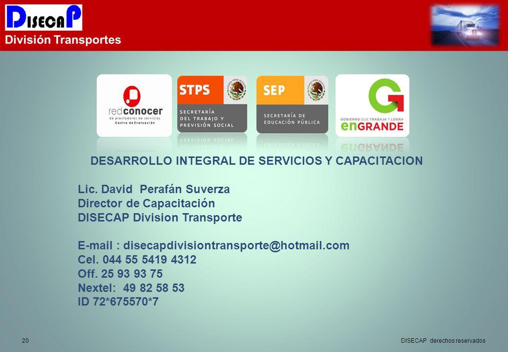 20 DESARROLLO INTEGRAL DE SERVICIOS Y CAPACITACION Lic.
