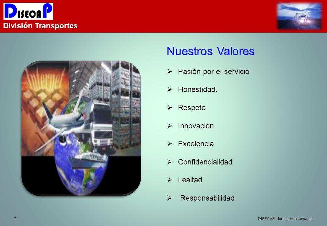 7 División Transportes Nuestros Valores Pasión por el servicio Honestidad.
