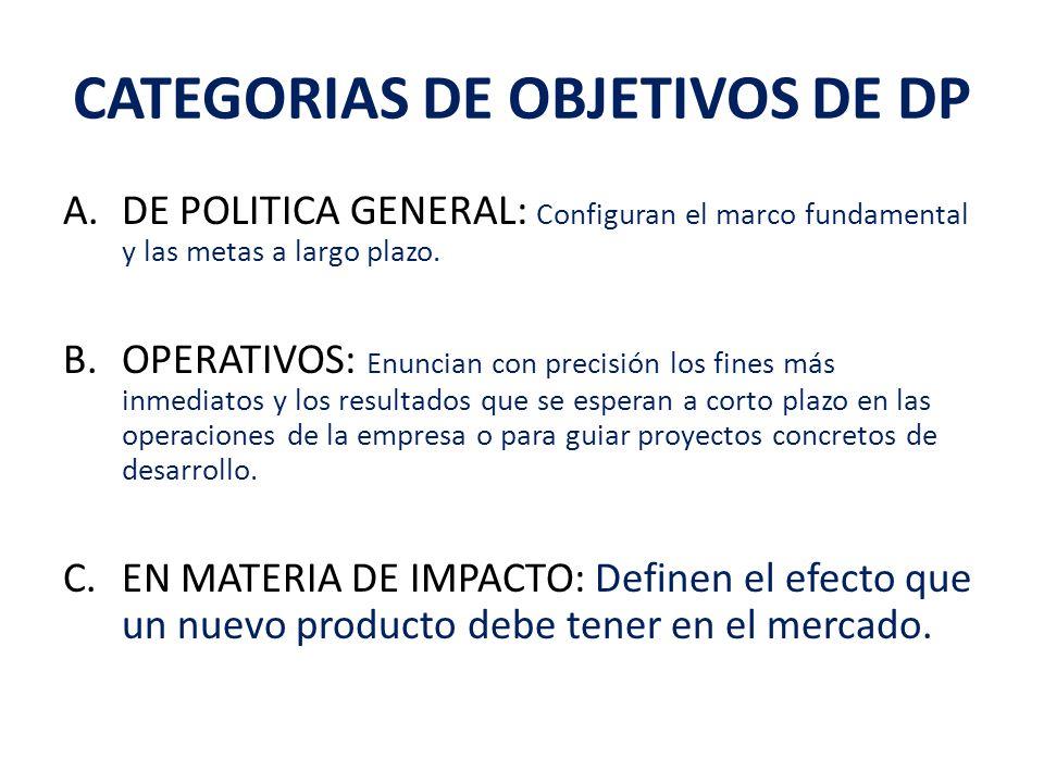 CATEGORIAS DE OBJETIVOS DE DP A.DE POLITICA GENERAL: Configuran el marco fundamental y las metas a largo plazo.