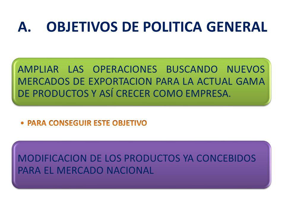 AMPLIAR LAS OPERACIONES BUSCANDO NUEVOS MERCADOS DE EXPORTACION PARA LA ACTUAL GAMA DE PRODUCTOS Y ASÍ CRECER COMO EMPRESA.