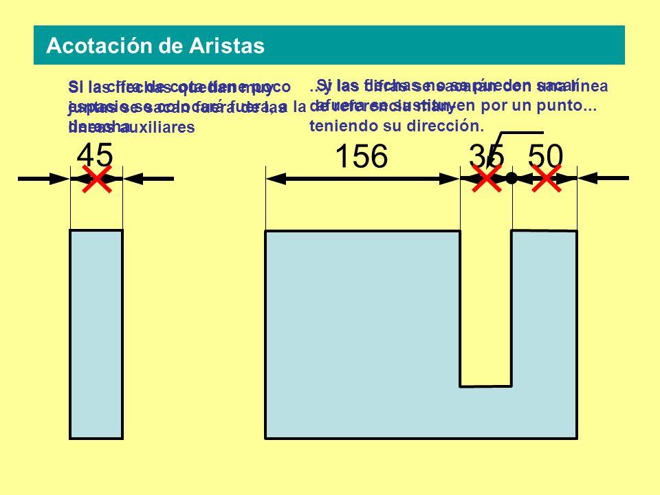 45 1565035 Si las flechas quedan muy juntas se sacan fuera de las líneas auxiliares Si la cifra de cota tiene poco espacio se colocará fuera, a la derecha Si las flechas no se pueden sacar afuera se sustituyen por un punto......y las cifras se sacarán con una línea de referencia man- teniendo su dirección.