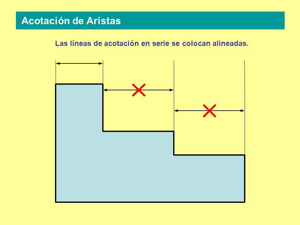 Las líneas de acotación en serie se colocan alineadas. Acotación de Aristas