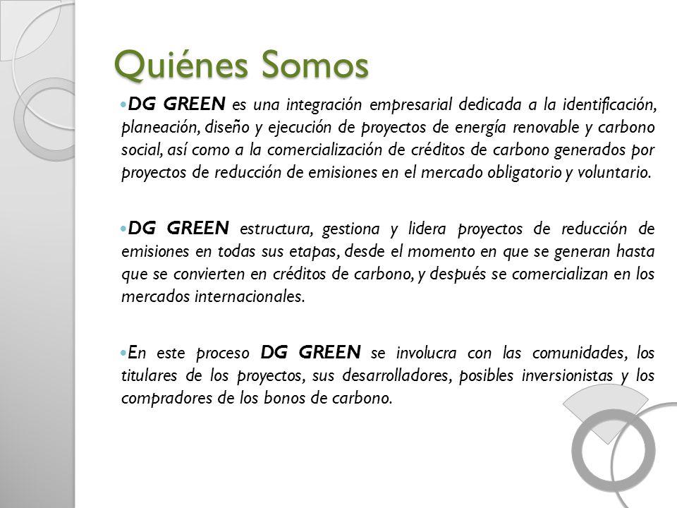 Quiénes Somos DG GREEN es una integración empresarial dedicada a la identificación, planeación, diseño y ejecución de proyectos de energía renovable y