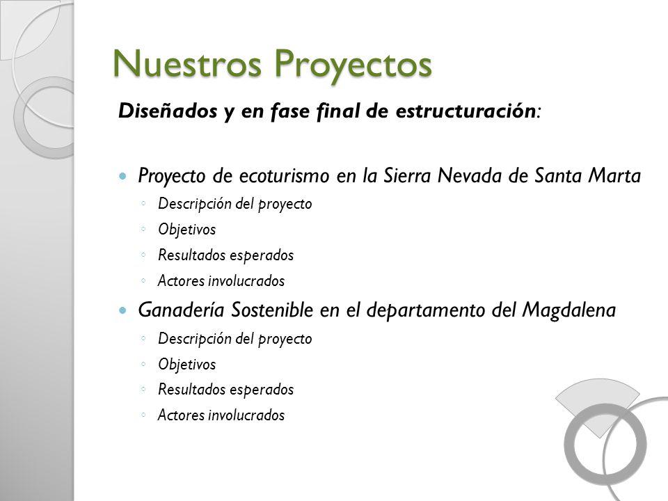 Nuestros Proyectos Diseñados y en fase final de estructuración: Proyecto de ecoturismo en la Sierra Nevada de Santa Marta Descripción del proyecto Obj