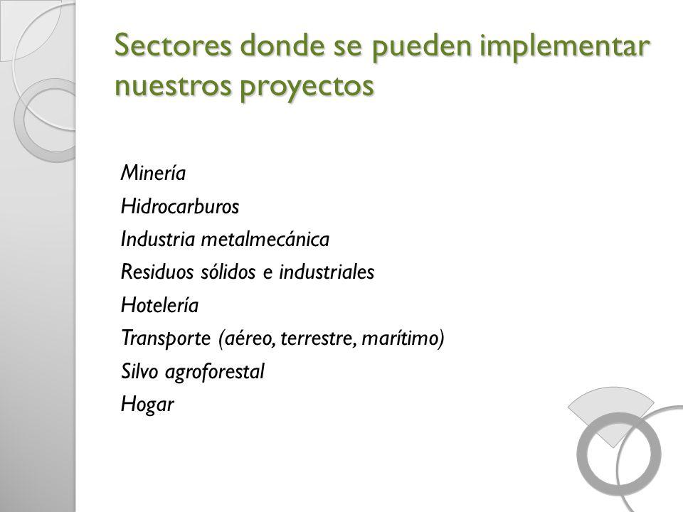 Sectores donde se pueden implementar nuestros proyectos Minería Hidrocarburos Industria metalmecánica Residuos sólidos e industriales Hotelería Transp