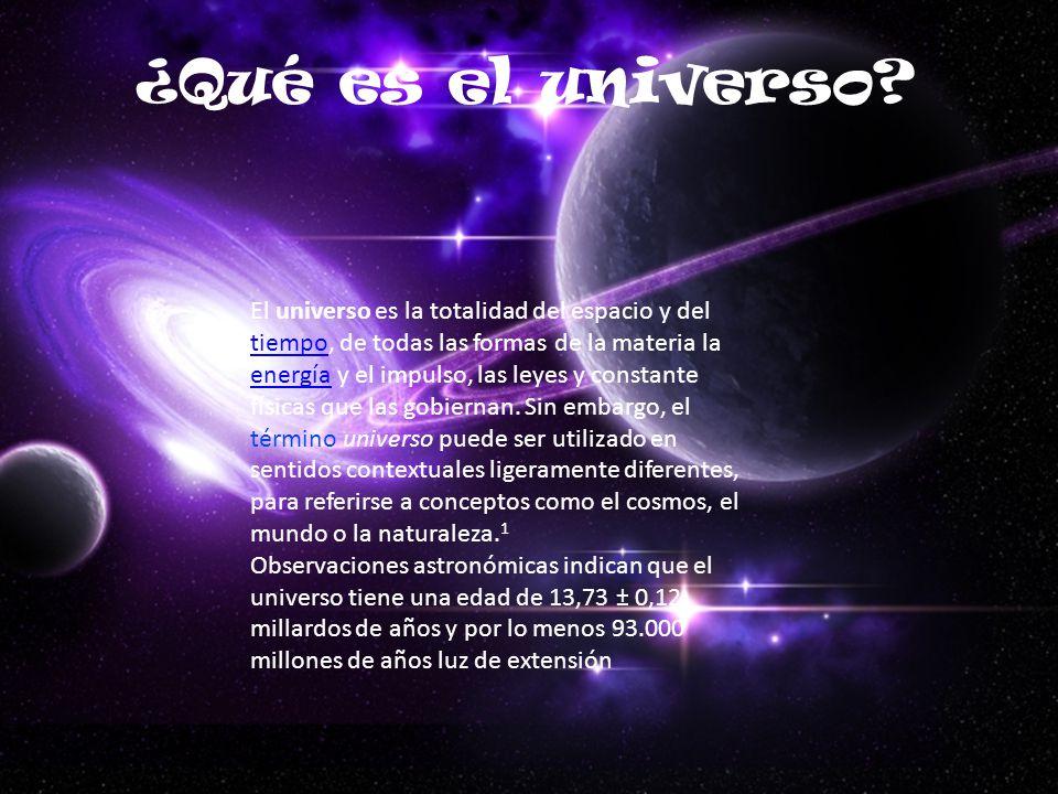 El universo es la totalidad del espacio y del tiempo, de todas las formas de la materia la energía y el impulso, las leyes y constante físicas que las gobiernan.