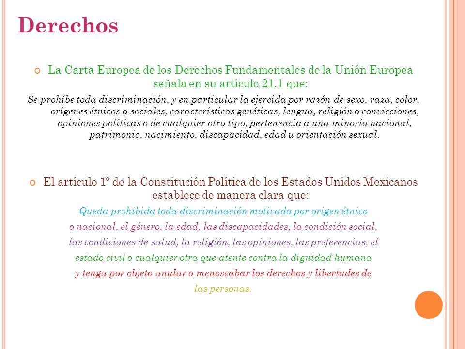 La Carta Europea de los Derechos Fundamentales de la Unión Europea señala en su artículo 21.1 que: Se prohíbe toda discriminación, y en particular la