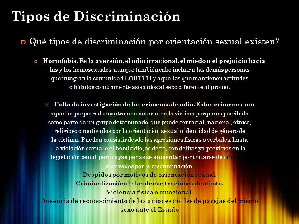 Qué tipos de discriminación por orientación sexual existen? Homofobia. Es la aversión, el odio irracional, el miedo o el prejuicio hacia las y los hom