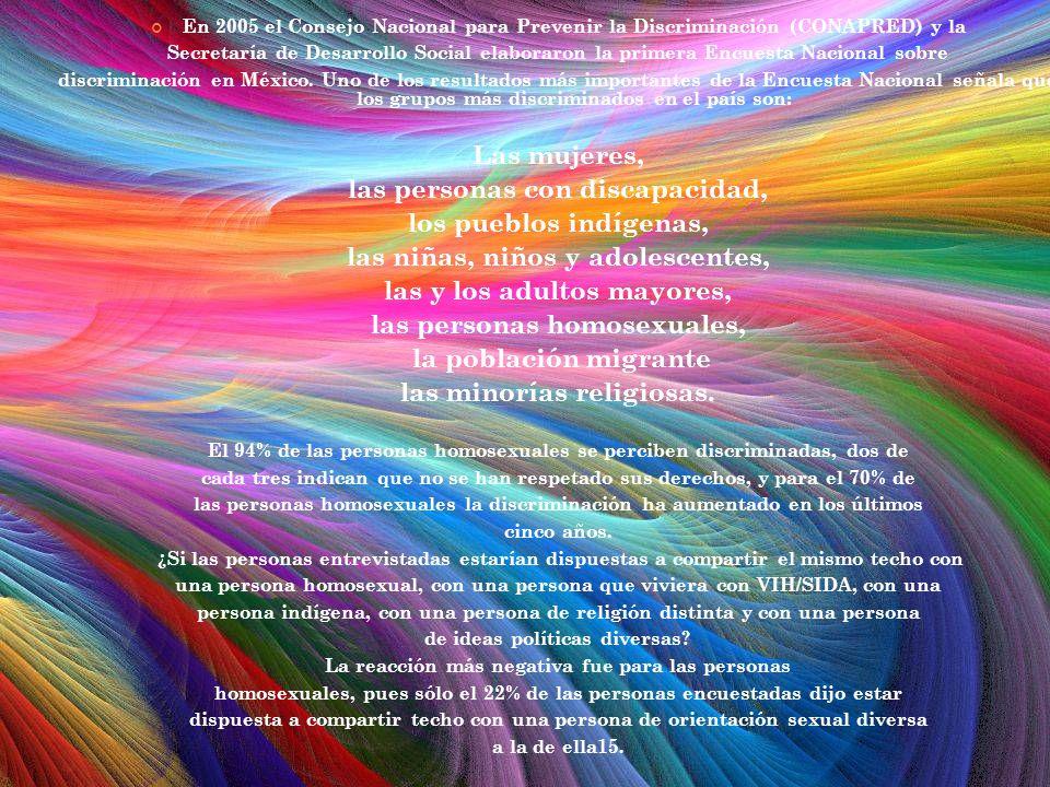 En 2005 el Consejo Nacional para Prevenir la Discriminación (CONAPRED) y la Secretaría de Desarrollo Social elaboraron la primera Encuesta Nacional so