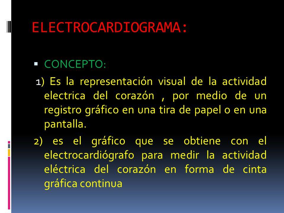 ELECTROCARDIOGRAMA: CONCEPTO: 1) Es la representación visual de la actividad electrica del corazón, por medio de un registro gráfico en una tira de papel o en una pantalla.