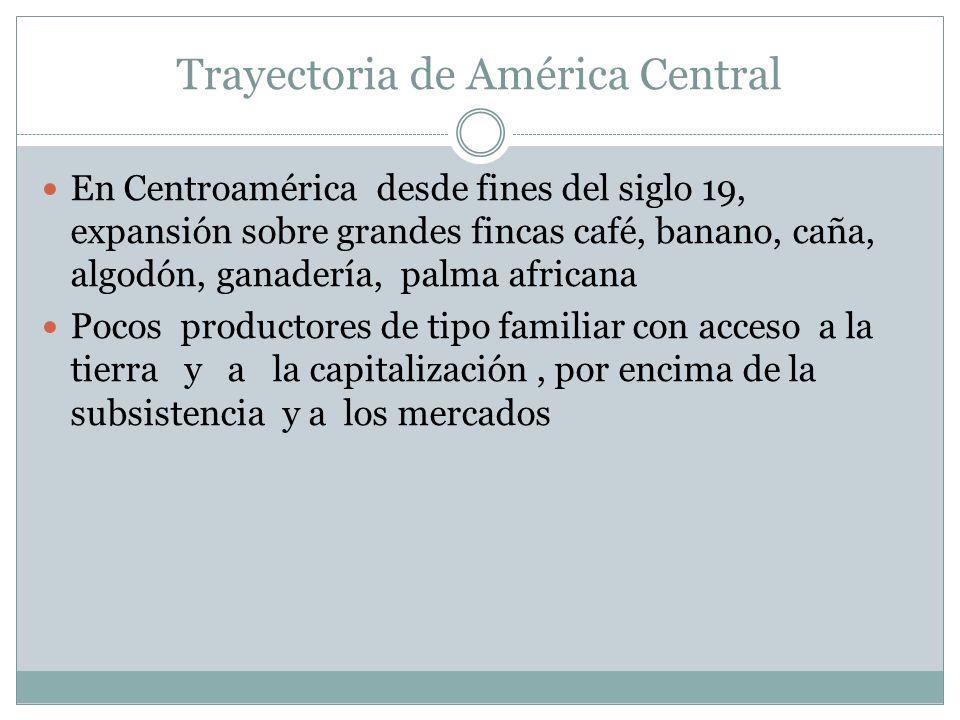 Trayectoria de América Central En Centroamérica desde fines del siglo 19, expansión sobre grandes fincas café, banano, caña, algodón, ganadería, palma