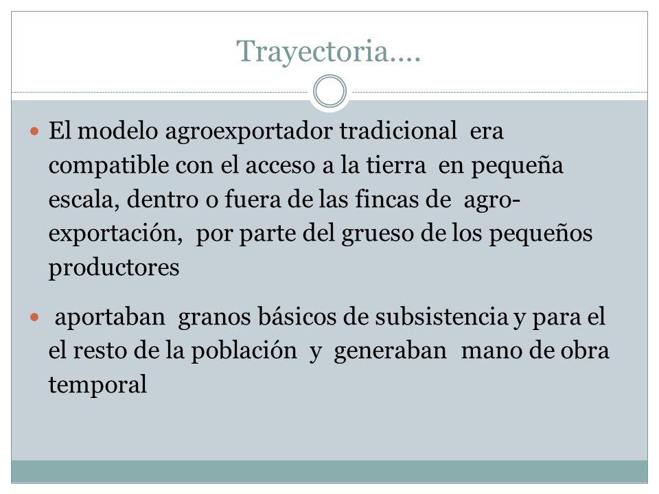 Trayectoria…. El modelo agroexportador tradicional era compatible con el acceso a la tierra en pequeña escala, dentro o fuera de las fincas de agro- e