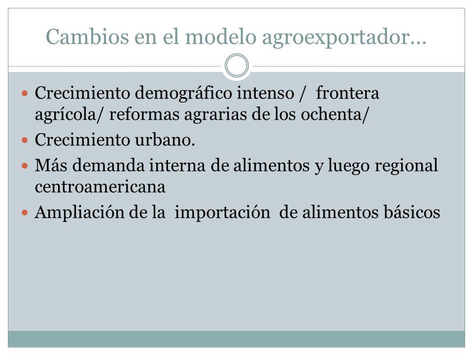 Cambios en el modelo agroexportador… Crecimiento demográfico intenso / frontera agrícola/ reformas agrarias de los ochenta/ Crecimiento urbano. Más de