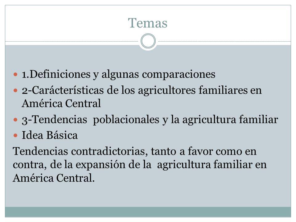Temas 1.Definiciones y algunas comparaciones 2-Carácterísticas de los agricultores familiares en América Central 3-Tendencias poblacionales y la agric