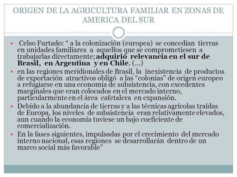 ORIGEN DE LA AGRICULTURA FAMILIAR EN ZONAS DE AMERICA DEL SUR Celso Furtado: a la colonización (europea) se concedían tierras en unidades familiares a