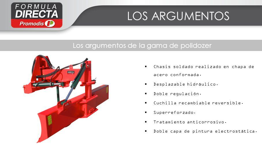 Les facteurs clés de succès LOS ARGUMENTOS Los argumentos de la gama de polidozer Chasis soldado realizado en chapa de acero conformada. Desplazable h