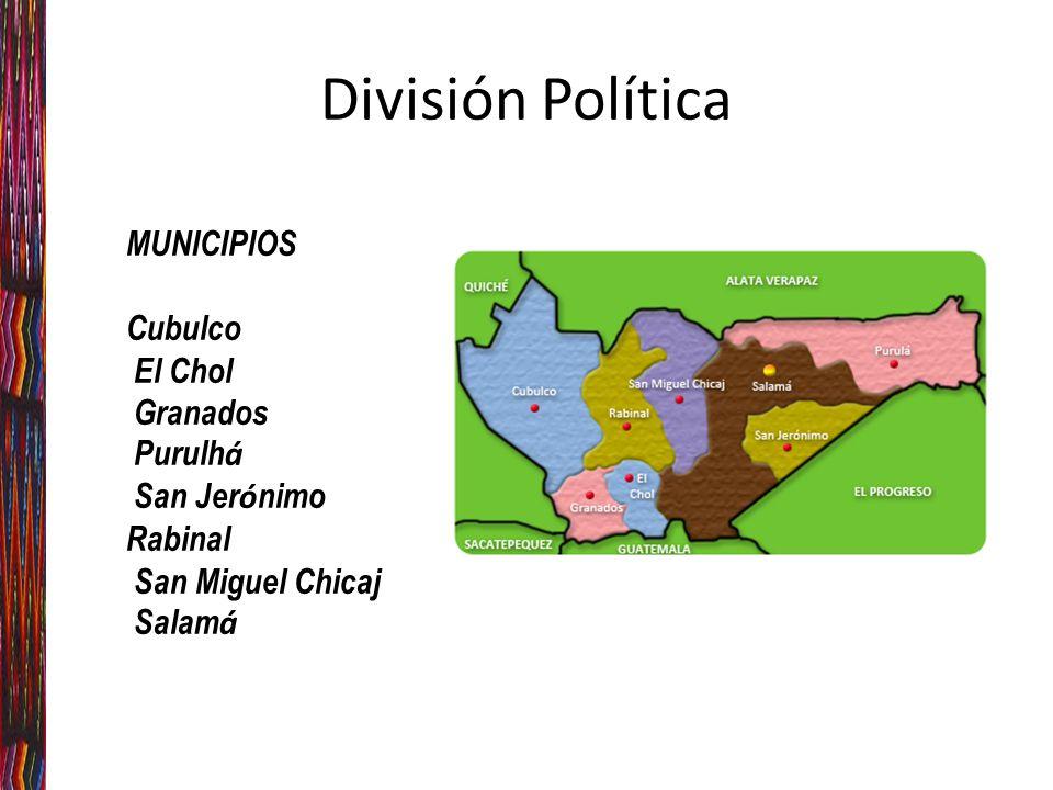 División Política MUNICIPIOS Cubulco El Chol Granados Purulh á San Jer ó nimo Rabinal San Miguel Chicaj Salam á