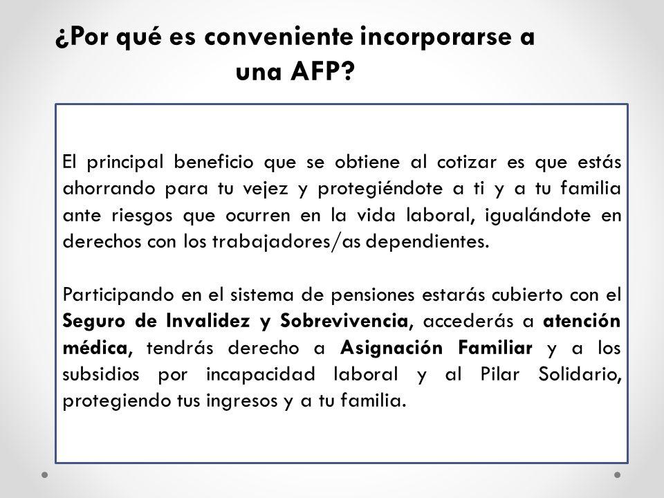 Afiliación Voluntaria Beneficio que establece la afiliación de aquellas personas que no están obligadas a incorporarse a una institución previsional (AFP), lo que les permitirá acceder a la cobertura del sistema de AFP y, por tanto, a las pensiones correspondientes por vejez, invalidez y sobrevivencia.