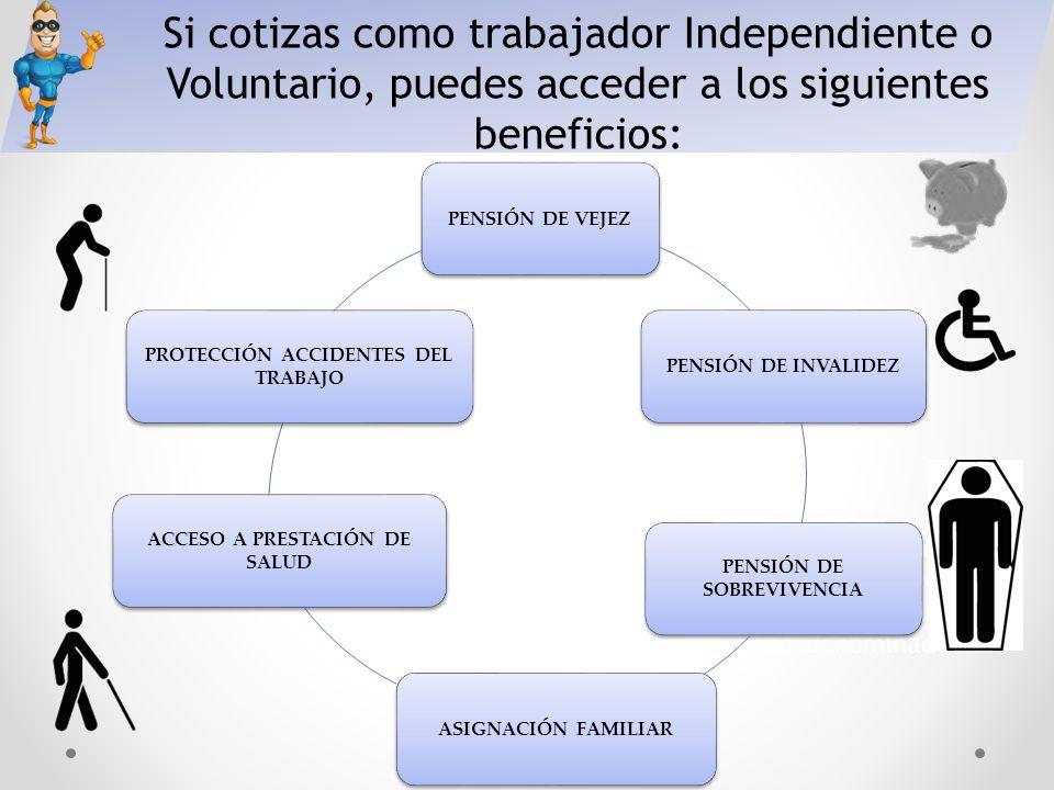 Si cotizas como trabajador Independiente o Voluntario, puedes acceder a los siguientes beneficios: Es contributivo debido a que cada trabajador/a debe