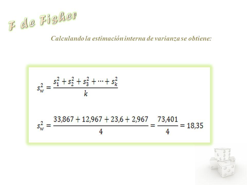 Calculando la estimación interna de varianza se obtiene: