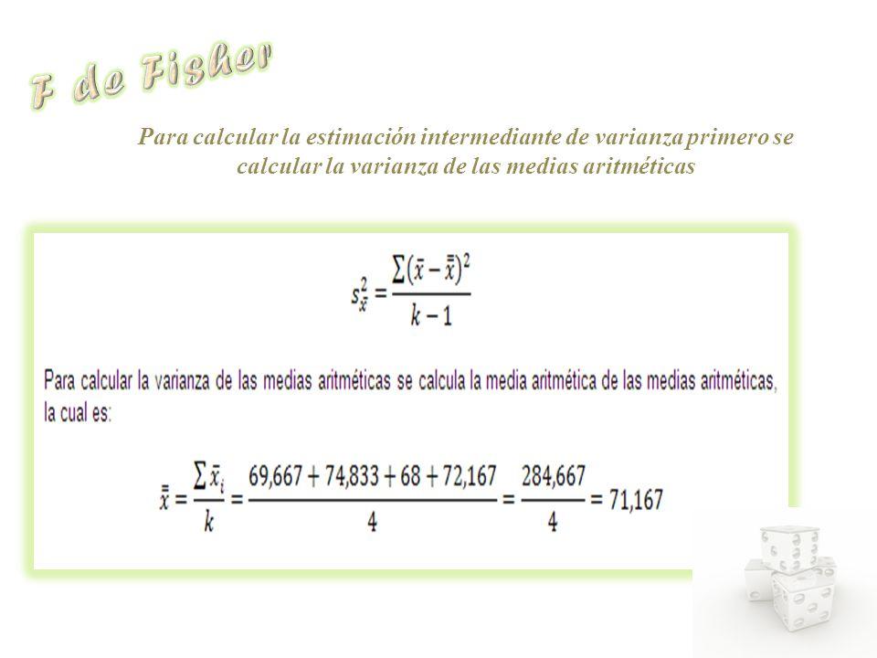 Para calcular la estimación intermediante de varianza primero se calcular la varianza de las medias aritméticas