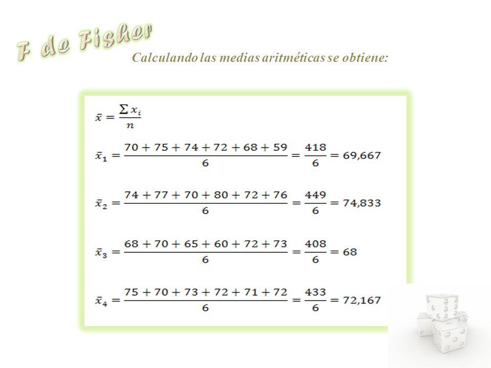 Calculando las medias aritméticas se obtiene: