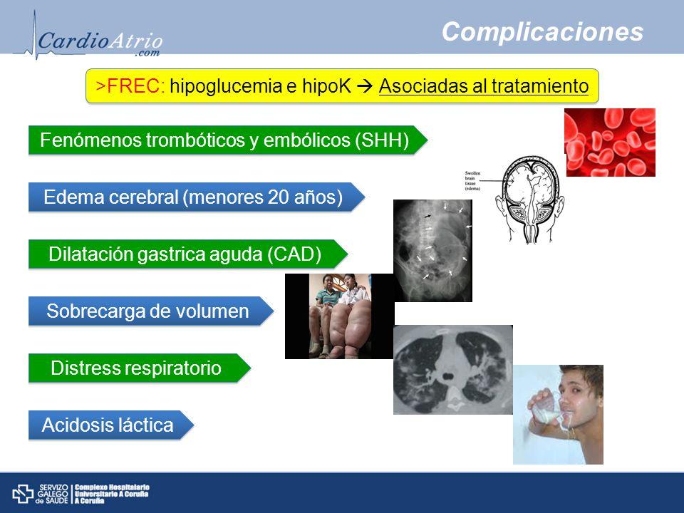 Complicaciones >FREC: hipoglucemia e hipoK Asociadas al tratamiento Fenómenos trombóticos y embólicos (SHH) Edema cerebral (menores 20 años) Sobrecarga de volumen Distress respiratorio Dilatación gastrica aguda (CAD) Acidosis láctica