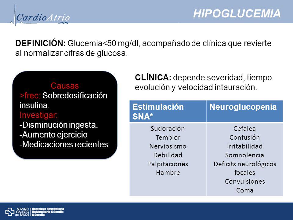 HIPOGLUCEMIA DEFINICIÓN: Glucemia<50 mg/dl, acompañado de clínica que revierte al normalizar cifras de glucosa.