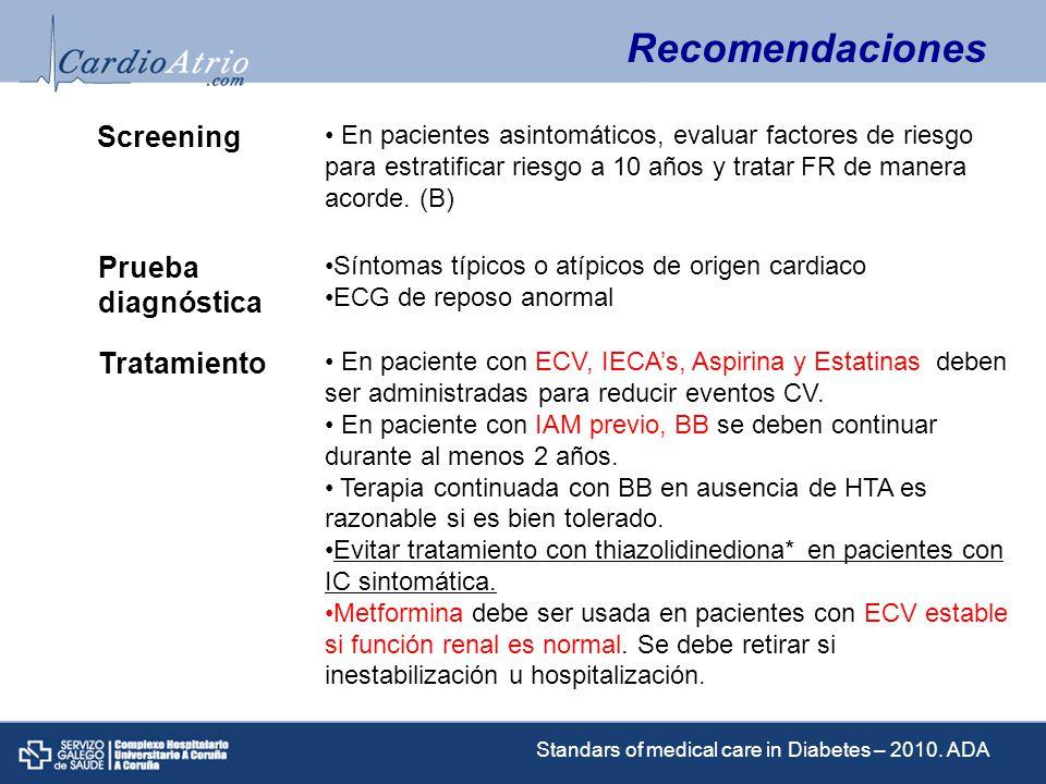 Factores de riesgo CV en DM: Objetivos HTA < 130/80 STOP SMOKING Sin ECV: LDL < 100.