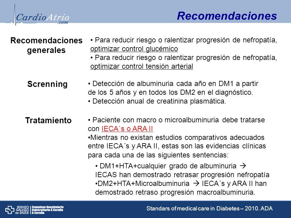 DM2+HTA+Macroalbuminuria+IRC (cr>15) ARA II han demostrado retrasar progreso de la nefropatía Si una clase no es tolerada debe ser sustituida por la otra La reducción del consumo de proteinas entre 08-1 g/kg/24h en individuos con DM en las primeras etapas de nefropatia y a 08g/kg/24h en las ultimas etapas podria mejorar medidas de función renal (albuminuria y FG) y es recomendado.