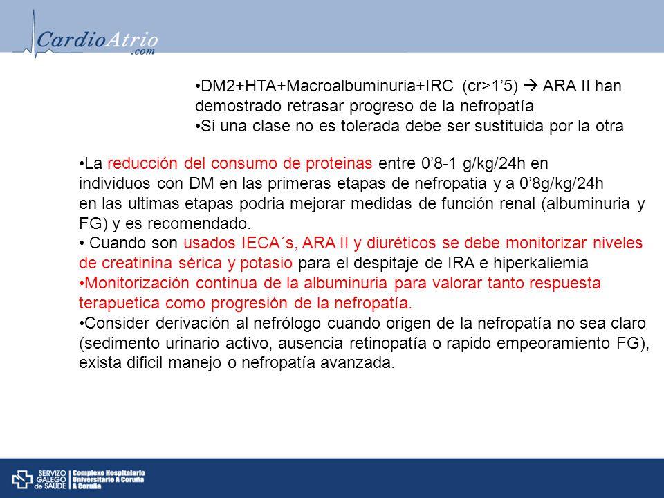 DM2+HTA+Macroalbuminuria+IRC (cr>15) ARA II han demostrado retrasar progreso de la nefropatía Si una clase no es tolerada debe ser sustituida por la o