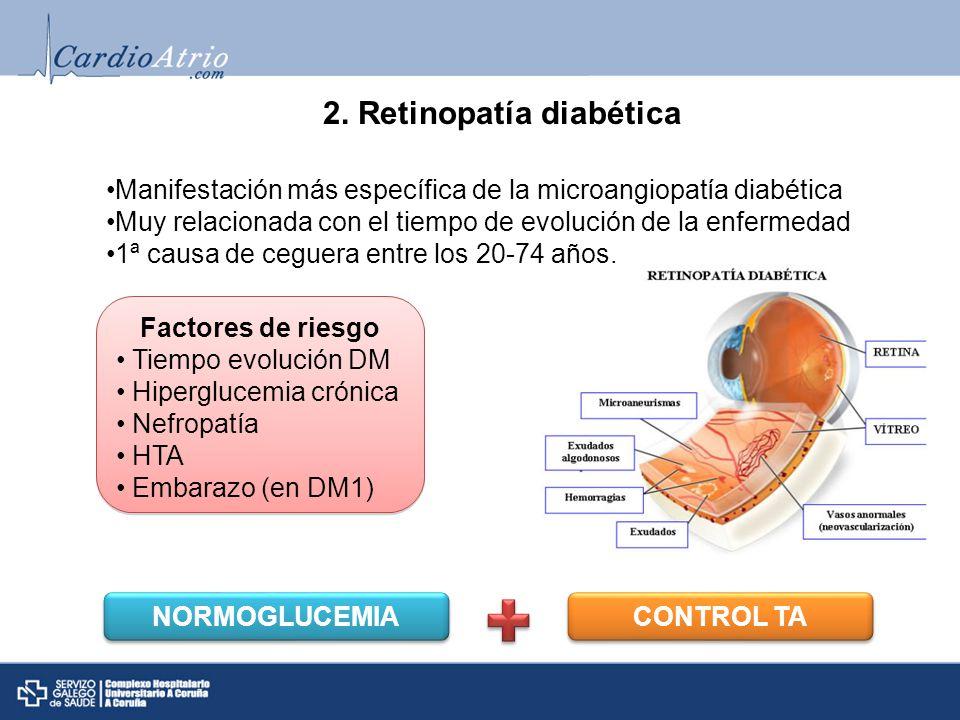 Fondo de ojo normal Retinopatía no proliferativa Retinopatía proliferativaEdema macular DMHemorragia vítrea Tratamiento Panfotocoagulación Clasificación
