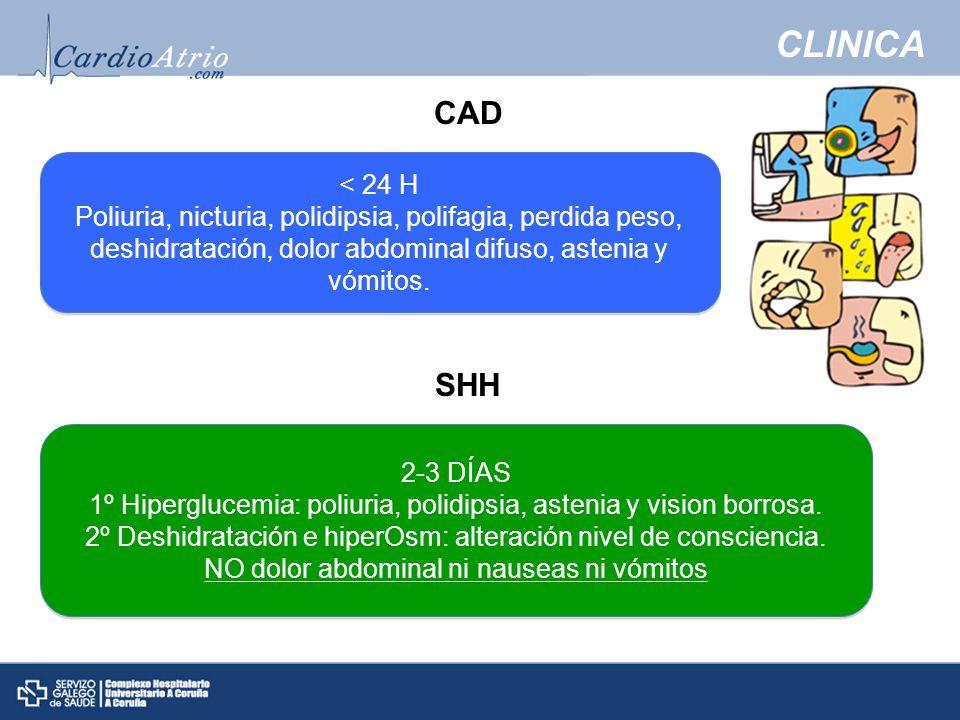 CLINICA < 24 H Poliuria, nicturia, polidipsia, polifagia, perdida peso, deshidratación, dolor abdominal difuso, astenia y vómitos.