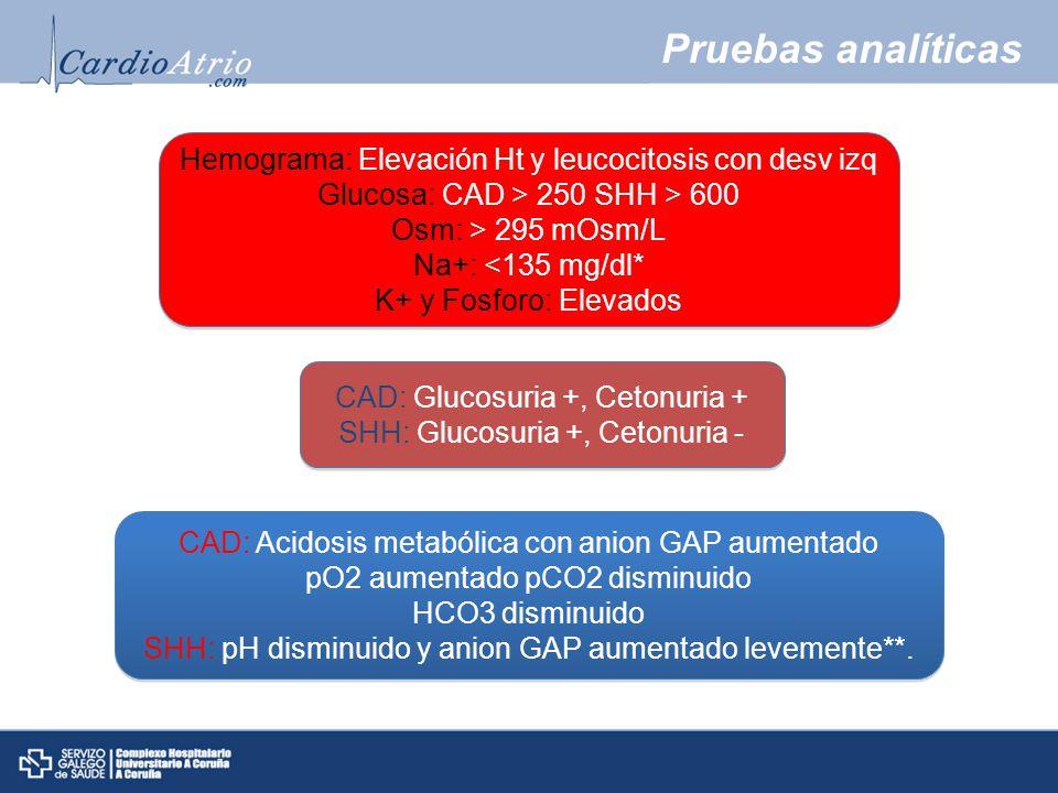 Pruebas analíticas Hemograma: Elevación Ht y leucocitosis con desv izq Glucosa: CAD > 250 SHH > 600 Osm: > 295 mOsm/L Na+: <135 mg/dl* K+ y Fosforo: Elevados Hemograma: Elevación Ht y leucocitosis con desv izq Glucosa: CAD > 250 SHH > 600 Osm: > 295 mOsm/L Na+: <135 mg/dl* K+ y Fosforo: Elevados CAD: Glucosuria +, Cetonuria + SHH: Glucosuria +, Cetonuria - CAD: Glucosuria +, Cetonuria + SHH: Glucosuria +, Cetonuria - CAD: Acidosis metabólica con anion GAP aumentado pO2 aumentado pCO2 disminuido HCO3 disminuido SHH: pH disminuido y anion GAP aumentado levemente**.