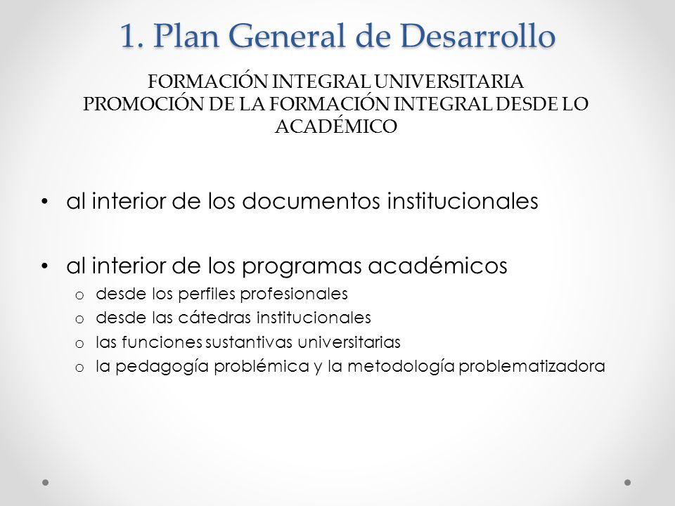 1. Plan General de Desarrollo al interior de los documentos institucionales al interior de los programas académicos o desde los perfiles profesionales