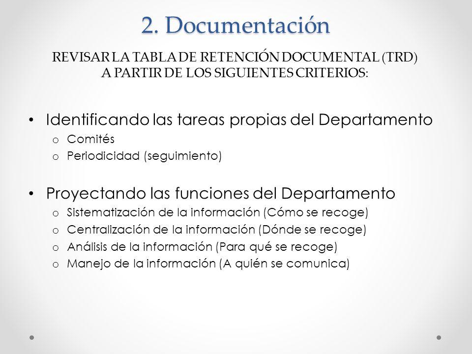 2. Documentación Identificando las tareas propias del Departamento o Comités o Periodicidad (seguimiento) Proyectando las funciones del Departamento o
