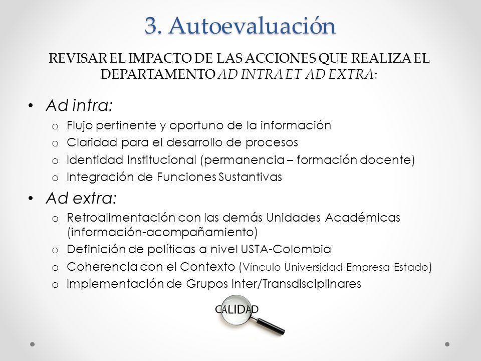 3. Autoevaluación Ad intra: o Flujo pertinente y oportuno de la información o Claridad para el desarrollo de procesos o Identidad Institucional (perma