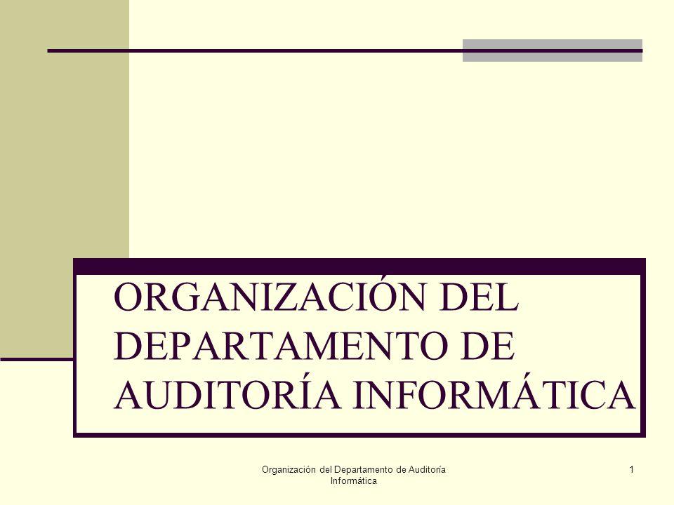 Organización del Departamento de Auditoría Informática 1 ORGANIZACIÓN DEL DEPARTAMENTO DE AUDITORÍA INFORMÁTICA