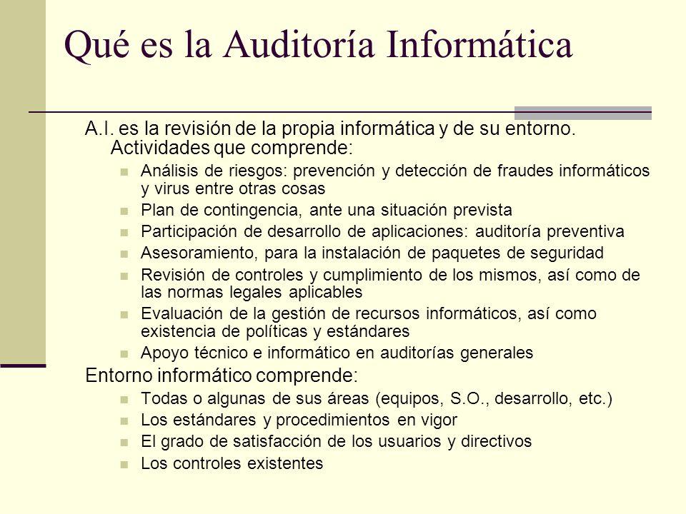 Qué es la Auditoría Informática A.I. es la revisión de la propia informática y de su entorno. Actividades que comprende: Análisis de riesgos: prevenci