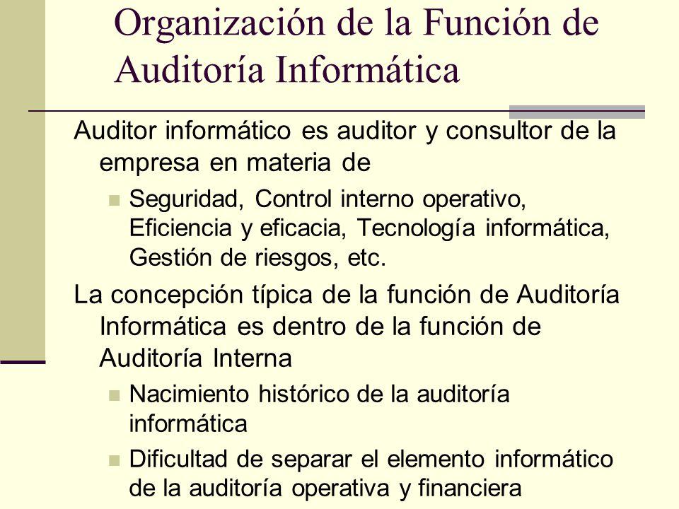 Organización de la Función de Auditoría Informática Auditor informático es auditor y consultor de la empresa en materia de Seguridad, Control interno