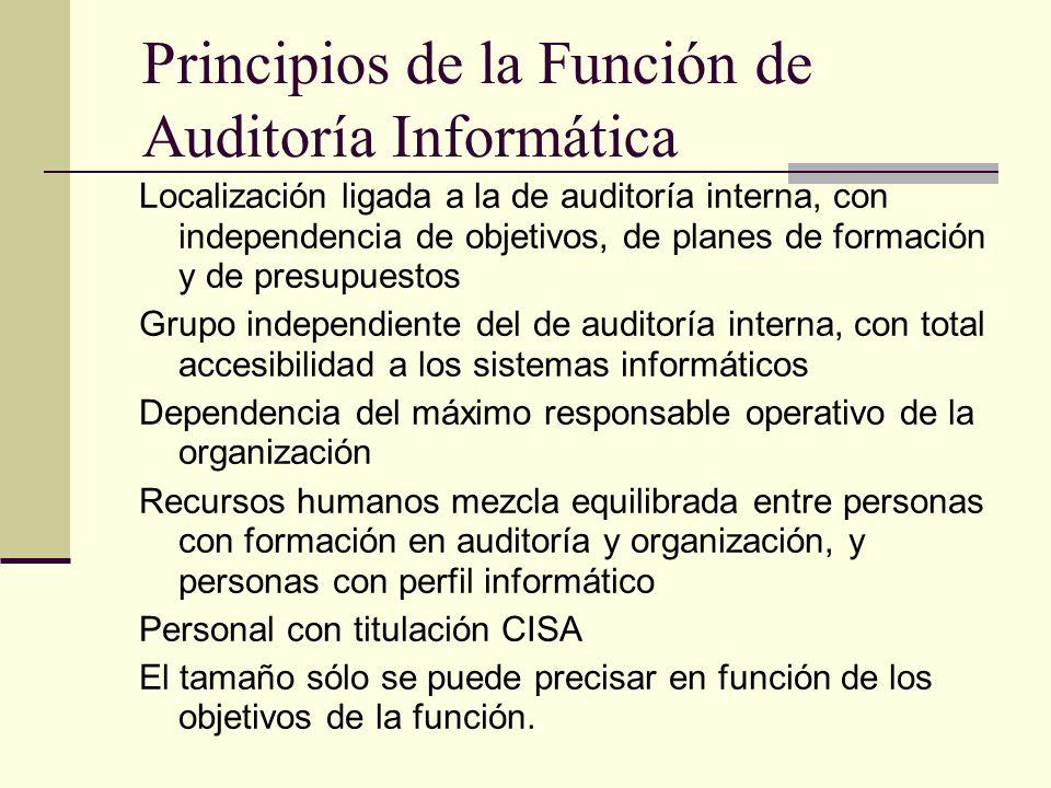 Principios de la Función de Auditoría Informática Localización ligada a la de auditoría interna, con independencia de objetivos, de planes de formació