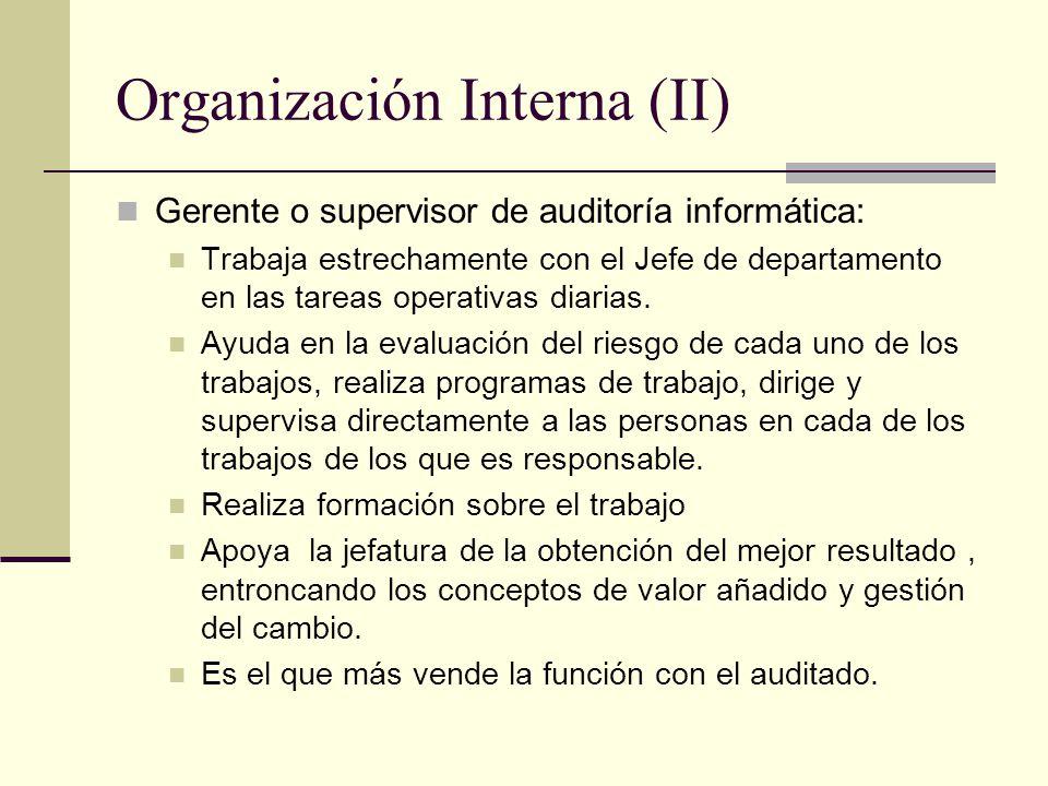 Organización Interna (II) Gerente o supervisor de auditoría informática: Trabaja estrechamente con el Jefe de departamento en las tareas operativas di