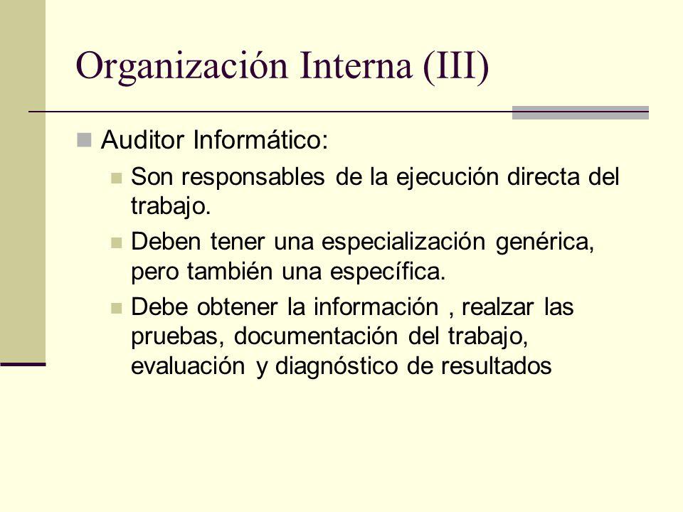 Organización Interna (III) Auditor Informático: Son responsables de la ejecución directa del trabajo. Deben tener una especialización genérica, pero t