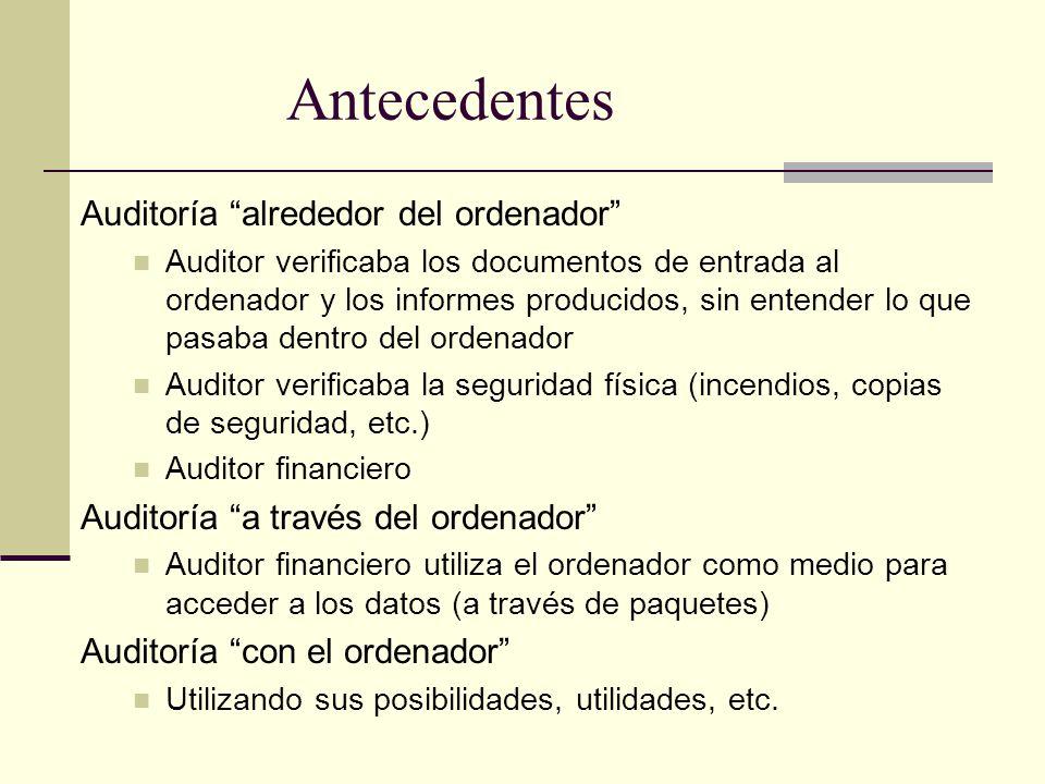 Antecedentes Auditoría alrededor del ordenador Auditor verificaba los documentos de entrada al ordenador y los informes producidos, sin entender lo qu