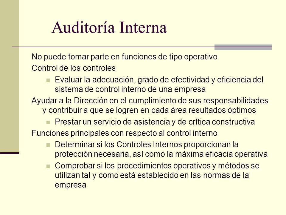 Auditoría Interna No puede tomar parte en funciones de tipo operativo Control de los controles Evaluar la adecuación, grado de efectividad y eficienci