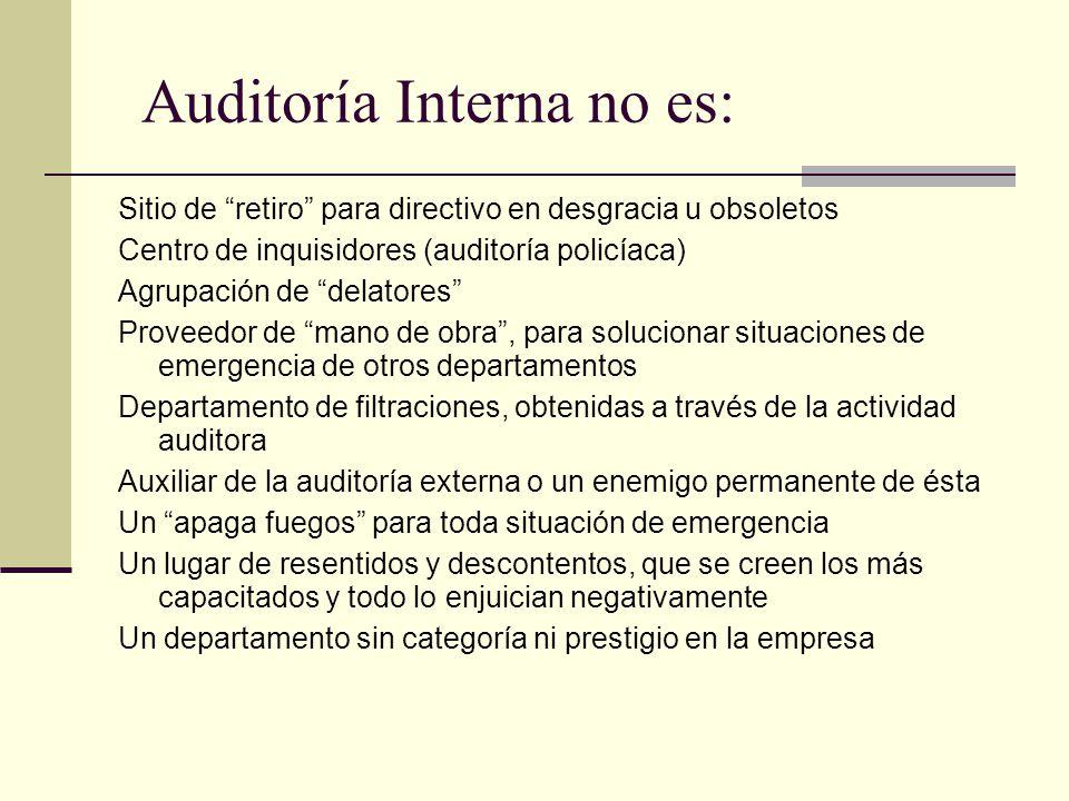 Auditoría Interna no es: Sitio de retiro para directivo en desgracia u obsoletos Centro de inquisidores (auditoría policíaca) Agrupación de delatores